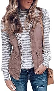 GETUPP Women Sherpa Fleece Quilted Vest Outwear Lightweight Sleeveless Zip Up Quilted Reversible Jacket with Pockets