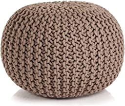 vidaXL Hand-Knitted Pouffe Living Room Bedroom Foot Rest Stool Seat Ottoman Furniture Cotton 50x35cm Brown