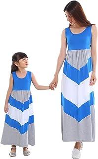 Wennikids Cotton Material Mommy and Me Chevron Maxi Dress Blue/Gray Women XX-Large