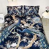 JF-448 HD impresión digital funda de cama conjunto 4 unids lujo azul pavo real cama cama individual 150 cm funda de edredón...