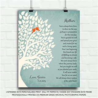 Thank You Gift for Mother from Daughter Gift from Bride to Parents Personalized Gift for Mother of Bride Family Wedding Poem Tree Gift for Mom and Dad - 8x10 Unframed Custom Paper Art Print