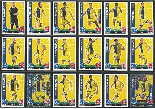 Topps Champions League Match Attax 15/16 Maccabi Tel-Aviv Team Base Set 2015/2016 Including Star Player & Duo Trading Cards by Match Attax