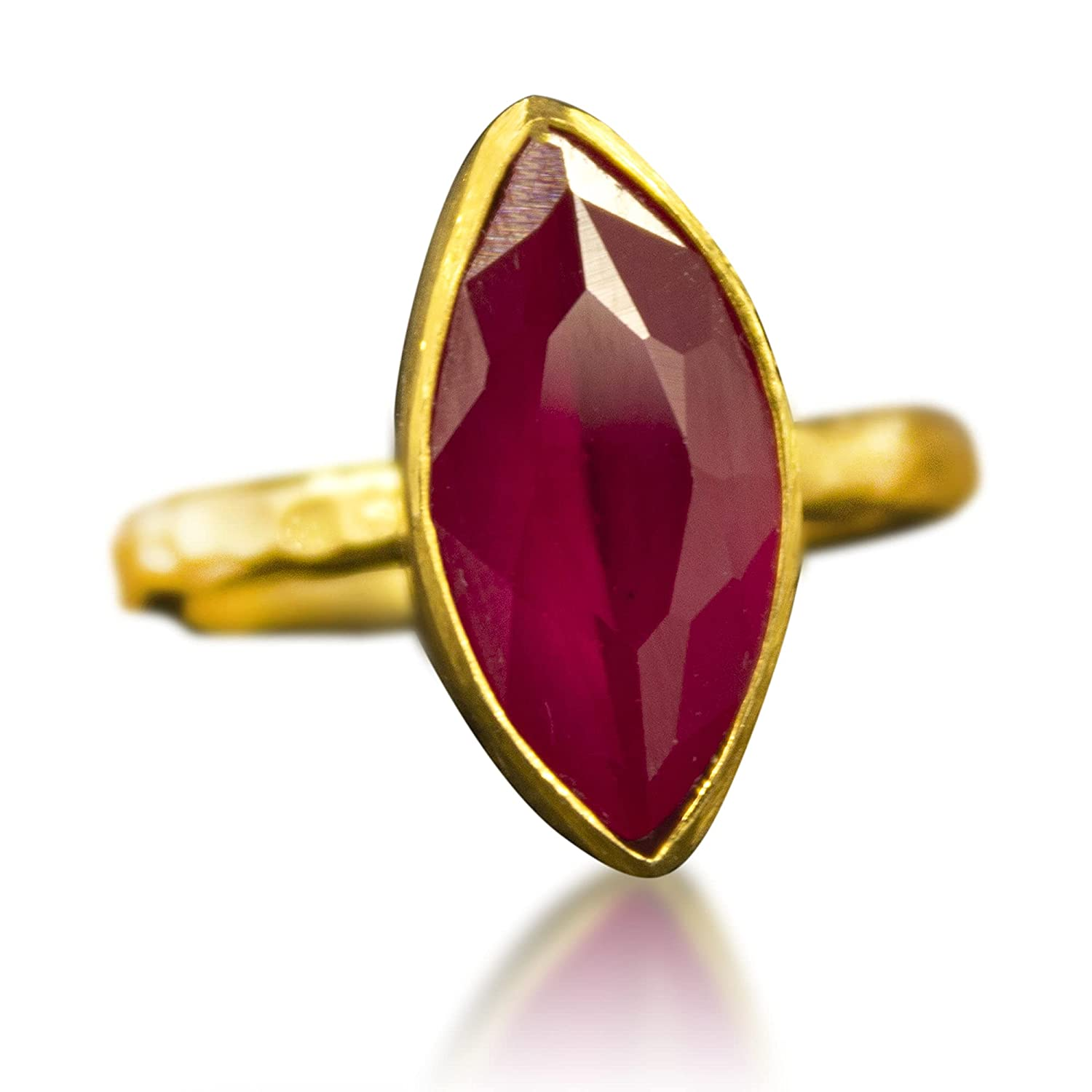 Gold Ruby Hammered sale Super popular specialty store Ring Minimalist 925 Sil Sterling Stacking
