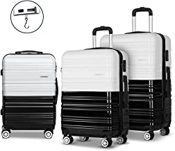 Set of 3 Luggage Suitcase Trolley - Black & White