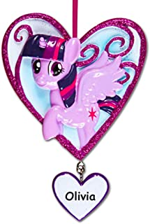 Personalized Officially Licensed My Little Pony Character Twilight Sparkle in Glitter Heart Hanging Christmas Ornament with Your Custom Name