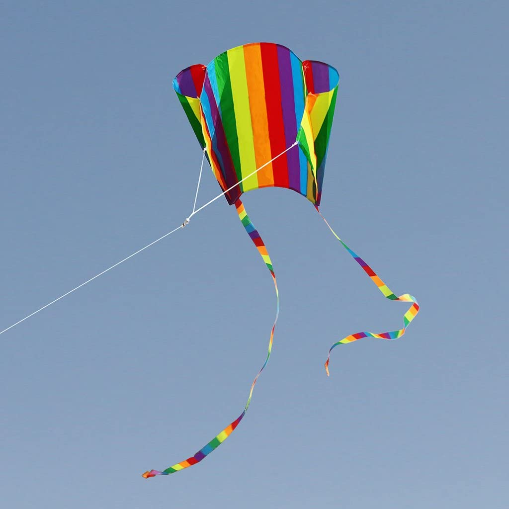 Rainbow Kite with 30 Meter String Colorful Tail Easy to Fly Summ