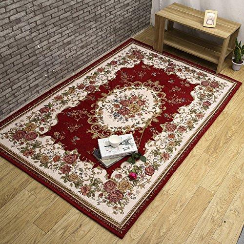 GRENSS Europäische und Amerikanische rutschhemmend Jacquard Teppich modernen Muster für Wohnzimmer Schlafzimmer Prited auf speziellen Blumenschmuck, Rot, 80 cm x 120 cm