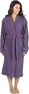 Women's Luxury Terry Towelling Bath Robe - Hooded Cotton Hotel Spa Gown