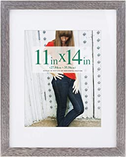 RPJC 11x14 inch Picture Frame Made of Solid Wood and High Definition Glass Display Pictures 8x10 with Mat or 11x14 Without Mat for Wall Mounting Photo Frame Driftwood Finish
