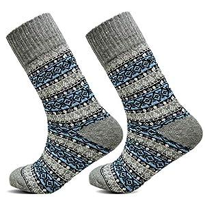 Xelay® Mens Merino Wool Knitted Dress Socks 2.4 Tog Rating Vintage Winter Warm Casual Indoor & Outdoor Crew Sock Size UK 6-11 (EU 39-45) (Grey Fairisle, 3 Pairs)