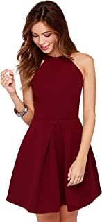 Tfunny Fashion® Women's Knee Length Round Neck One Piece Skater Dress