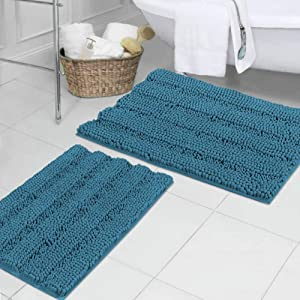 Turquoise Blue Shaggy Chenille Bathroom Rugs, Super Soft Thick Striped Microbiber Shag Rugs, Machine Washable Non Slip Water Absorbent Kitchen Mats (2 Pack, 20