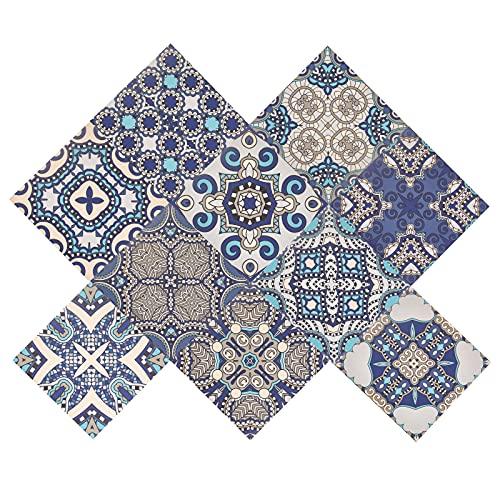 PandaHall 20 pegatinas para azulejos con diseño de flores, para baño y cocina, a prueba de aceite, impermeable, para bricolaje, mural de cocina, escalera, azul prusiano, 15 x 15 cm, cuadrado