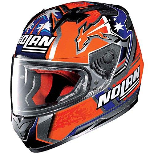 Nolan, N64,Gemini Replica C. Stoner Suzuka, casco integrale per motocicletta in policarbonato N-Com, con motivo decorativo graffiato, cromato, in taglia S