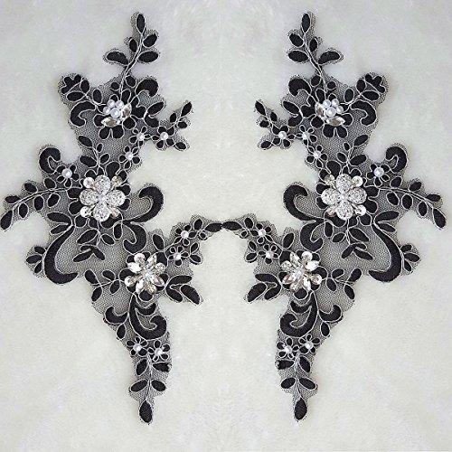 1 Pair Fine Lace Fabric Patches Embroidered Trim Applique Decor Dress Decoration (Black +Silver)