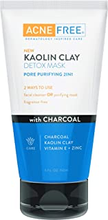 Acne Free Kaolin Clay Detox Mask 5oz with Charcoal, Kaolin Clay, Vitamin E + Zinc, Cleanser or Mask for Oily Skin, To Deeply Clean Pores and Refine Skin