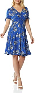 Roman Originals Women Floral Print Fit & Flare Skater Dress Ladies Stretch Jersey Casual Summer Autumn Party Beach Cruise ...