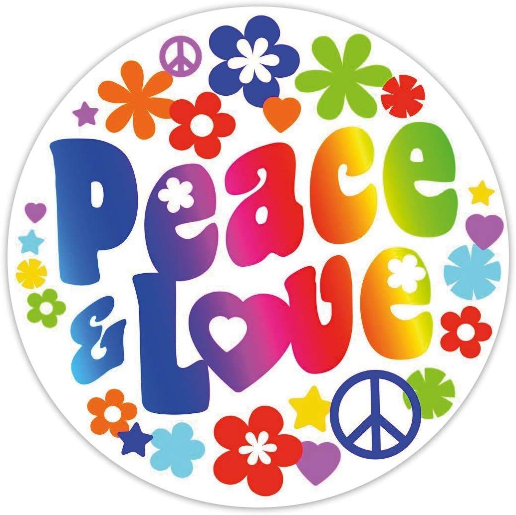 Aufkleber sticker motorrad auto peace and love blume hippie flower kuh r1