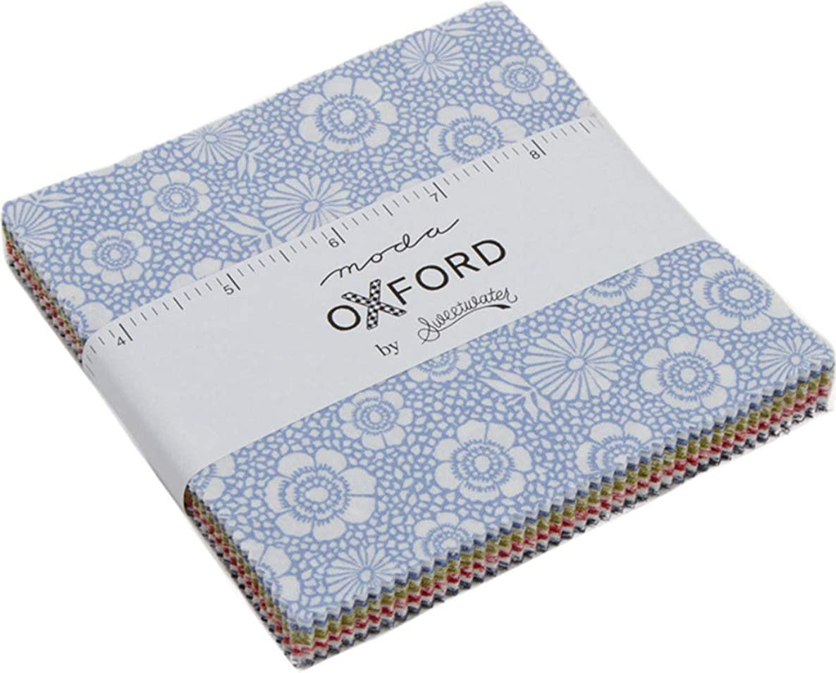 Oxford Prints Charm Pack by Sweetwater; 42-5 Inch Precut Fabric Quilt Squares