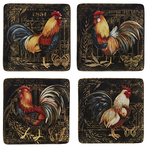 Certified International 23650SET4 Gilded Rooster Dinnerware.Tabletop, One Size, Multicolored