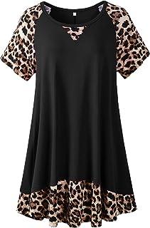 LARACE Leopard Tops For Women Plus Size Tunic Casual Summer Shirts Color Block Short Sleeve T-shirt