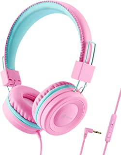 iClever Kids Headphones for Girls - Wired Headphones for Kids with MIC, Adjustable Headband, Foldable, Volume Control - Childrens Headphones on Ear for iPad Tablet Kindle Airplane School, Pink