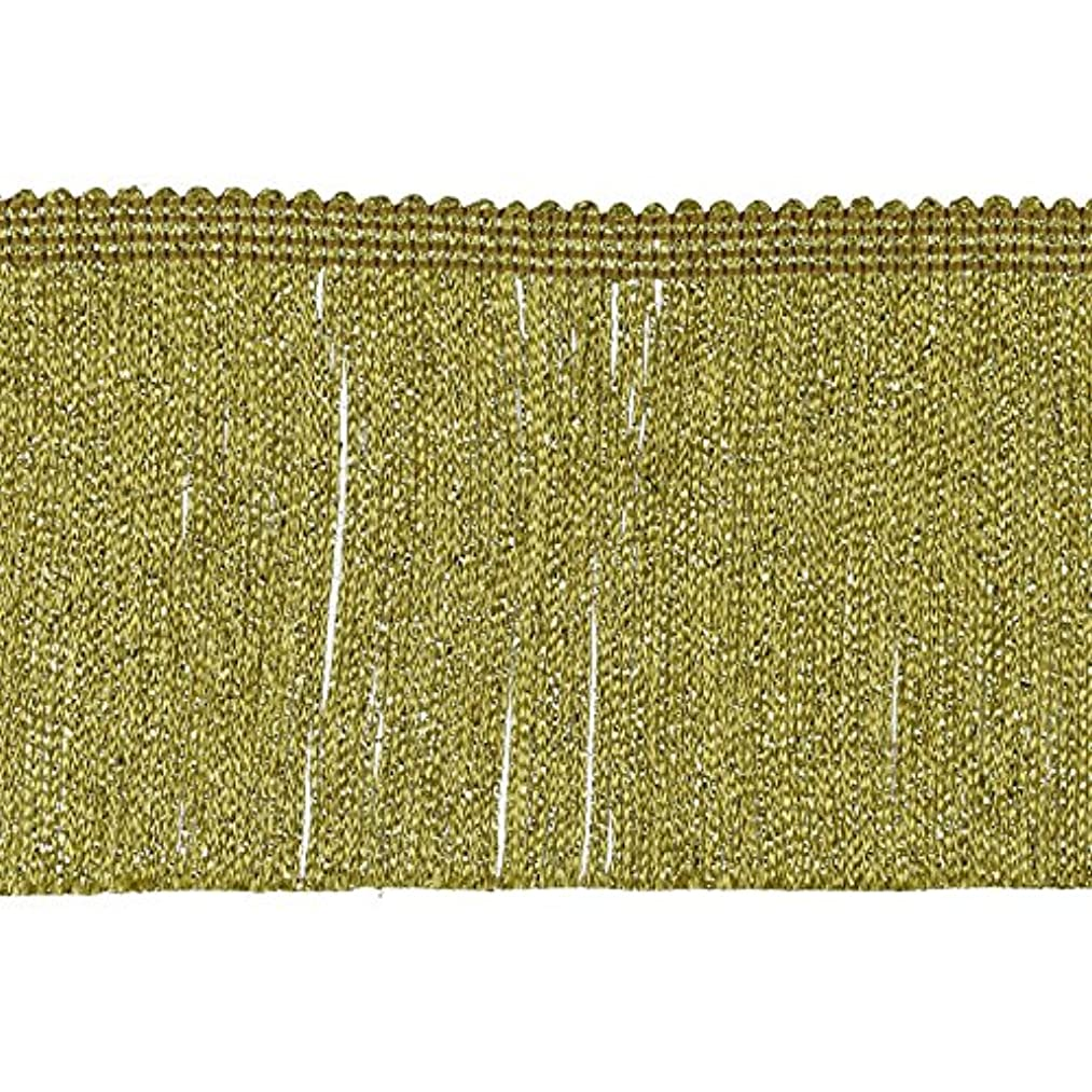 Chainette Fringe 4 Inch Width (10CM), 9-Yard Length, 100% Rayon, Metallic Gold