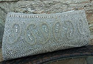 Silver & White Beaded Clutch, Evening Bag, Wristlet | Fair-Trade | Handmade in Bali Women's Cooperative| Ideal for Wedding or Winter Formal