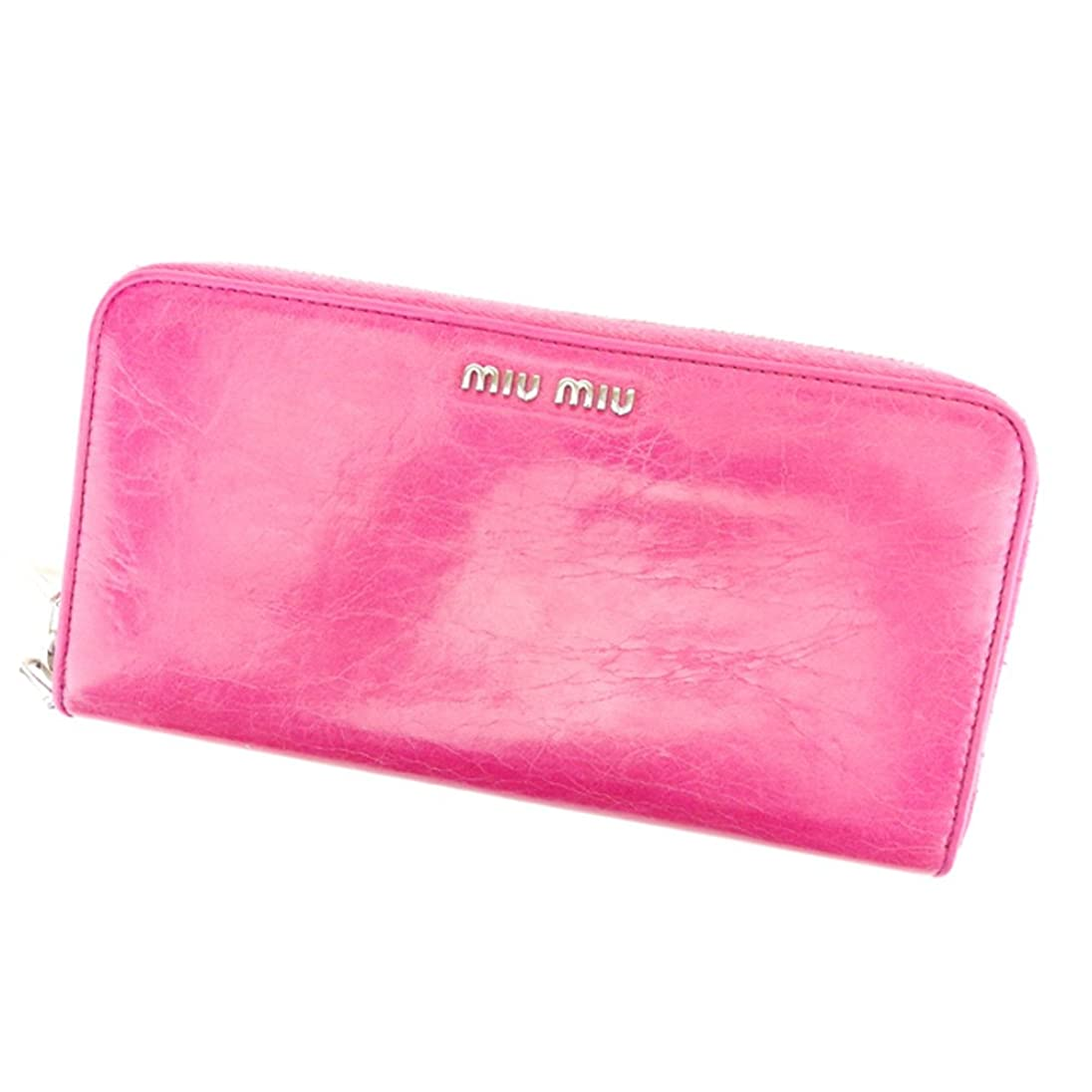 後ろに鮫認可(ミュウミュウ) Miu Miu 長財布 財布 ラウンドファスナー ピンク シルバー ロゴ レディース 中古 T6939