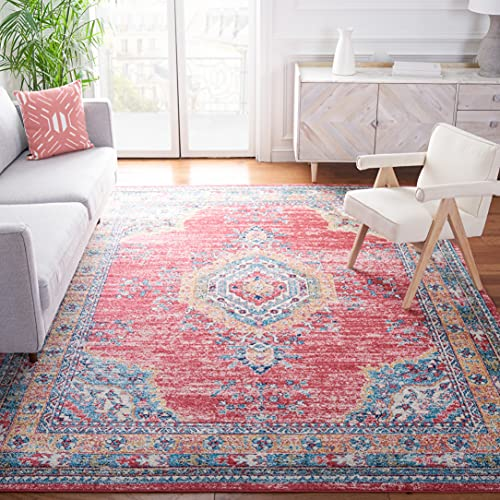 Safavieh Madison Collection MAD658P Boho Chic Medallion Distressed Non-Shedding Stain Resistant Living Room Bedroom Area Rug 6'7