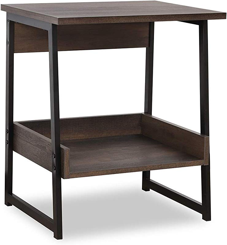Sekey Home End Table 2 Tier Side Table With Storage Shelf Sturdy And Easy Assembly Wood Look Accent Furniture With Metal Frame Smoky Oak