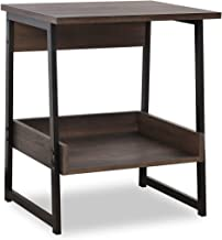 Sekey Home End Table, 2-Tier Side Table with Storage Shelf, Sturdy and Easy Assembly, Wood Look Accent Furniture with Metal Frame, Smoky Oak