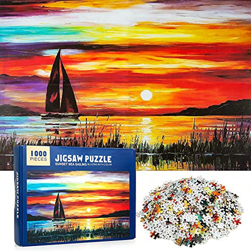 MOOKLIN ROAM Puzzle 1000 Piezas Navegando por el mar al Atardecer, Puzzles Souvenir Regalo para Adolescentes y Adultos