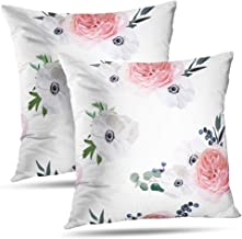 Darkchocl Set of 2 Daily Decoration Throw Pillow Covers Blush Blue Floral Square Pillowcase Cushion for Couch Sofa or Bed Modern Quality Design Cotton and Polyester 18 x 18