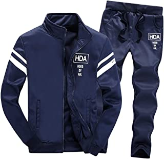 Men's Athletic Running Tracksuit Set Stripe Active Fitness Casual Full Zip Jogging Sweat Suit