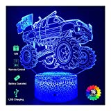 Monster Truck Night Lights for Kids, Monster Truck Toys 3D Illusion Lamp with USB Cable and 16 Colors Changing, Touch & Remote Control, The Best Birthday Christmas Monster Truck Gifts for Boys