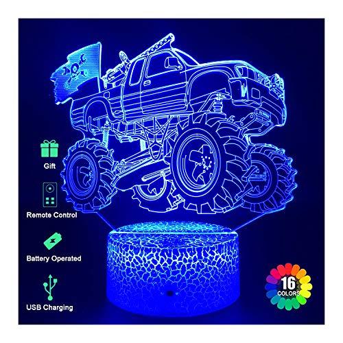 3D-Nachtlichter, Auto für Kinder, 3D-LED-Lampen mit USB-Kabel, 3D-Illusion, Nachtlicht, Monster-Truck, 16 Farben + 7 Farbwechsel, Touch- und Fernbedienung, bester Geburtstag für Mädchen und Jungen
