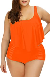 Sovoyontee Women Plus Size Ruffles High Waisted Swimsuit...