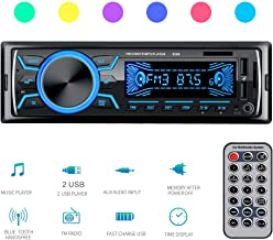 Autoradio Bluetooth, SEZAC Radio Coche, Reproductor de MP3 de DIN Digital Single DIN, Radio FM para Coche/Bluetooth 4.2/2 USB/TF/AUX con Control Remoto inalámbrico, Colores LED Ajustables