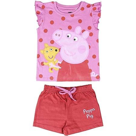 Cerdá Pijama Niña de Peppa Pig-Camiseta + Pantalon de Algodón Juego Chicas