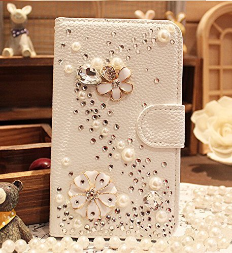 Berry Accessory(TM) Luxury 3D Bling Crystal Rhinestone Wallet Leather Purse Flip Card Pouch Stand Cover Case for Samsung Galaxy Note 4 + Berry logo stand holder (s line pearl flower)