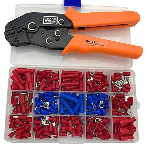 Nuzamas Virole à cliquet pour sertir les cosses isolées de câbles Capacité de 0,25–2,5mm² AWG 23–13avec 240bornes/connecteurs