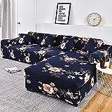 WXQY Fundas de impresión 3D Fundas de sofá elásticas elásticas Protección para Mascotas Funda de sofá Esquina en Forma de L Funda de sofá Todo Incluido A6 4 plazas