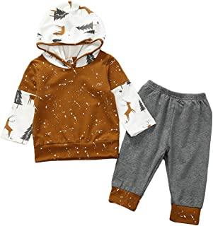 crazymee Baby Boy Fall Clothes Long Sleeve Reindeer Hoddie and Gray Pants Winter Oufits Set