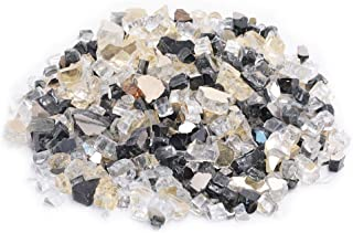 Skyflame 10-Pound Blended Fire Glass for Fire Pit Fireplace Landscaping, 1/2-Inch Onyx Black, Platinum, Gold, Reflective