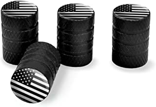 Graphics and More Subdued American USA Flag Black White Military Tactical Tire Rim Wheel Aluminum Valve Stem Caps - Black
