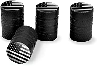 Subdued American USA Flag Black White Military Tactical Tire Rim Wheel Aluminum Valve Stem Caps - Black