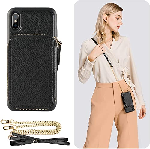 iPhone Xs Max Wallet Case, ZVE iPhone Xs Max Case with Credit Card Holder Slot Crossbody Chain Handbag Purse Wrist Zi...