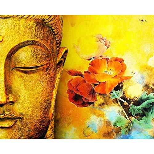 YJJPP Gemälde nach Zahlen DIY Golden Buddha Lotus Landschaft Leinwand Kunst Bild Acryl Färbung nach Zahlen Raumdekoration 40x50cm gerahmt