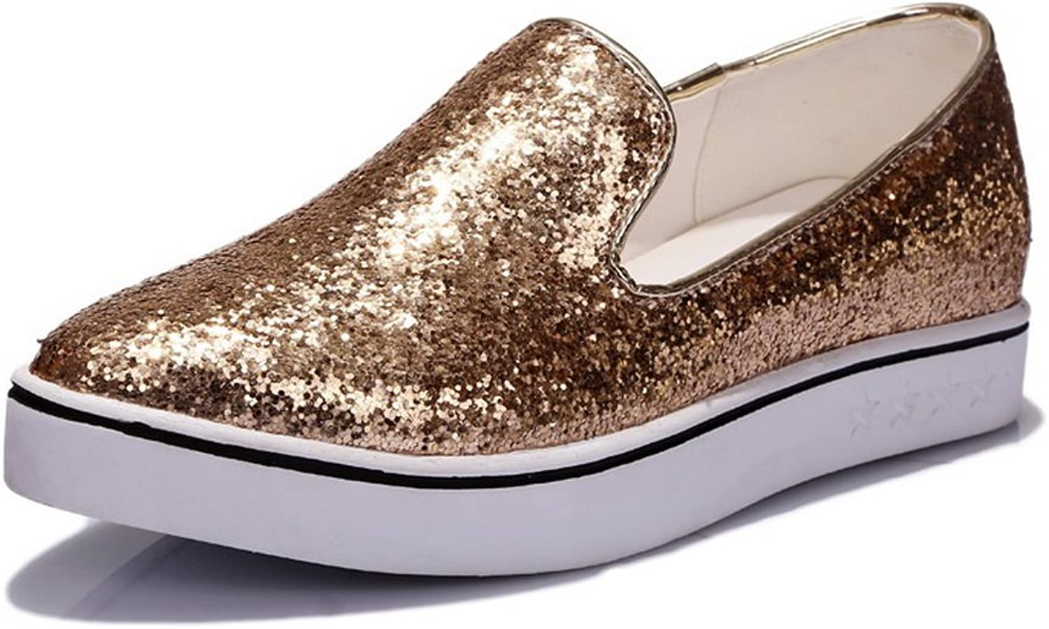 1TO9 Ladies Heighten Inside Sequins Pull-On gold Polyurethane Pumps-shoes - 7.5 B(M) US